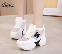 12 CM Hidden Heels Wedges Lace Up Casual Shoes Woman Fashion White Black Breath Platform Height