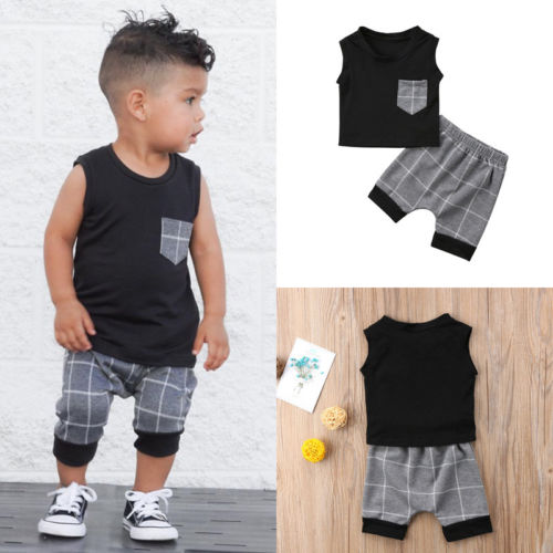 Toddler Kids Baby Boy Sleeveless T-shirt Tops + Harem Pants Outfits Clothes Set