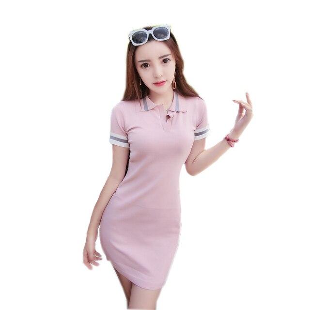 2716a9af20f 2018 verano ajustado funda Sexy manga corta pulóver Polo Mini vestido mujer  donne si vestido de