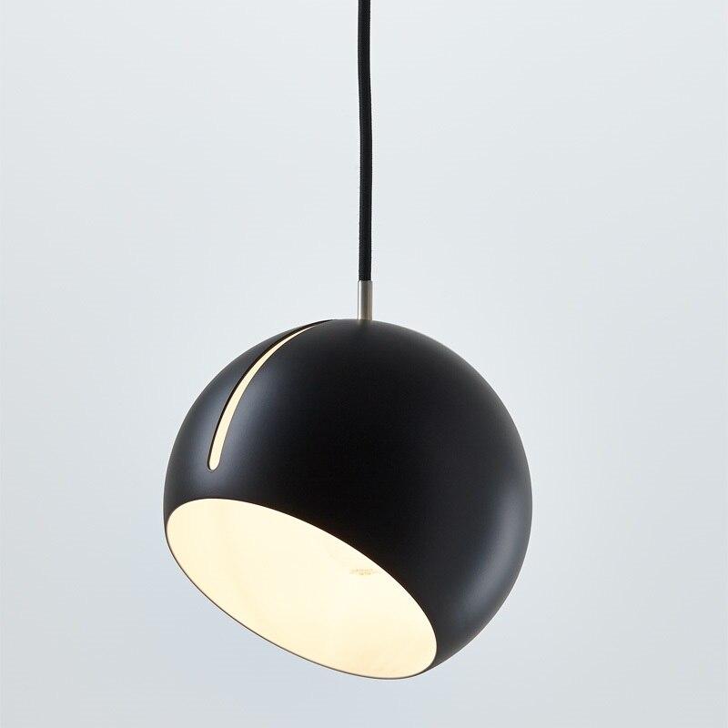 Luz moderno Pingente De Bola Do Vintage Preto/Branco/Ouro Sombra de Ferro Ângulo Ajustável Luminária