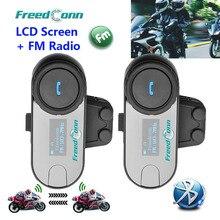 FreedConn 2 шт ЖК-экран FM Функция 3 всадника Hi-Fi динамик мотоциклетный домофон BT Bluetooth беспроводной переговорный шлем гарнитура
