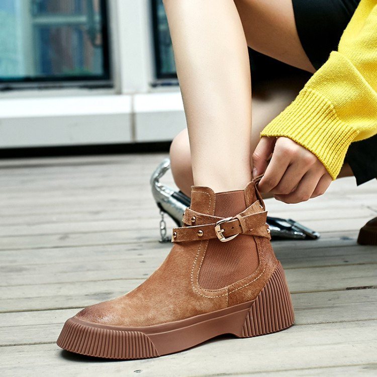MLJUESE 2019 women ankle boots Pigskin brown color retro winter short plush pointed toe platform flat women Chelsea boots - 3