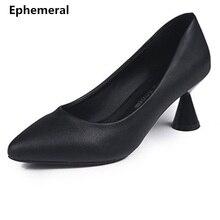 Zapatos de oficina negros de tacón extraño para mujer zapatos de Punta puntiaguda Vintage tamaño máximo 40 34 tacones Chinos Baratos cómodos lindo
