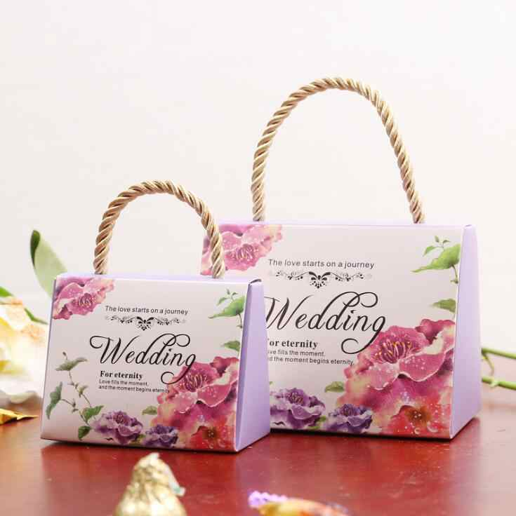 candy box bag chocolate paper gift package for Birthday Wedding Party favor Decor supplies DIY  handbag flower design  Wh