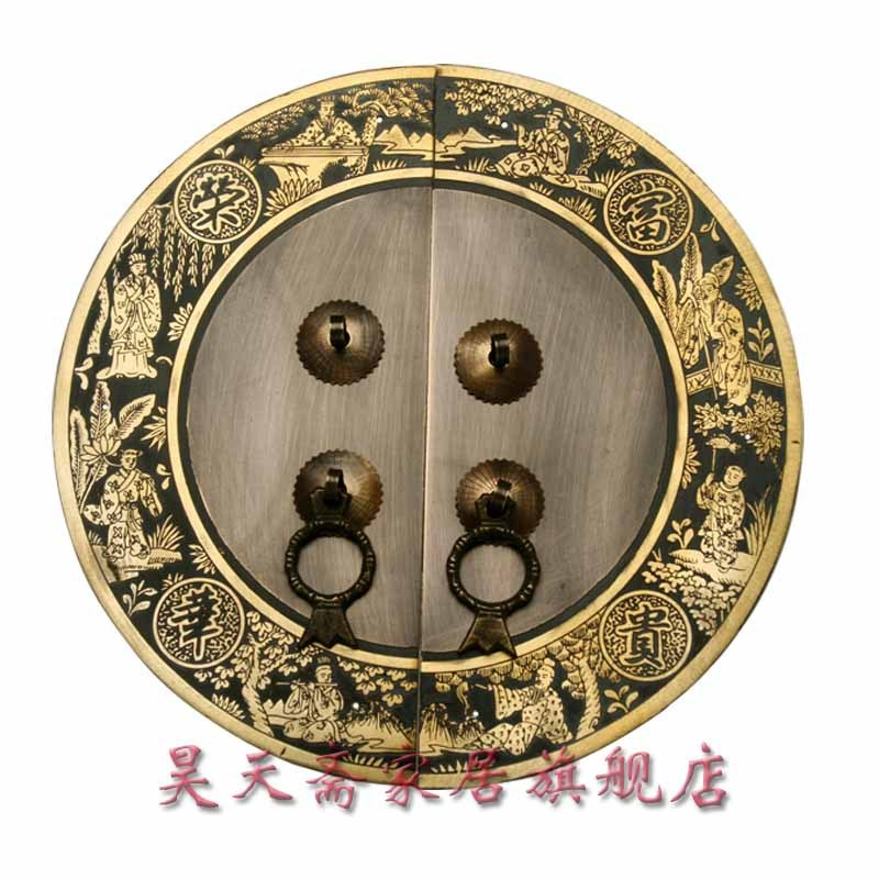 [Haotian vegetarian] copper door handle / copper handicrafts / Ming and Qing antique furniture, brass fittings / HTB-072 [haotian vegetarian] chinese antique ming and qing furniture copper fittings copper door copper handle 18cm black