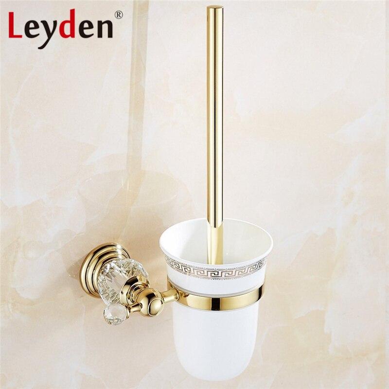 Leyden Luxury Crystal Gold Toilet Brush Holder Porcelain Toilet Brush Holder Wall Mount Toilet Brush Set