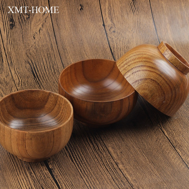 XMT HOME Healthy Wooden Tableware Japanese Soup Bowls Solid Wood Bowl For  Children Adult Natural Nice Look