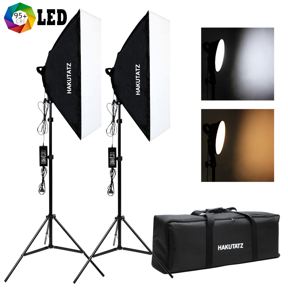 Professional Photography Lighting Kit Dimmable Continuous LED Softbox Studio Lights With Stands, Portable Softbox Light Diffuser