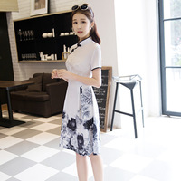 2017 New Spring Summer Fashion Short Sleeve Qipao Dress Women Silk Cotton Cheongsams Traditional Chinese Clothing