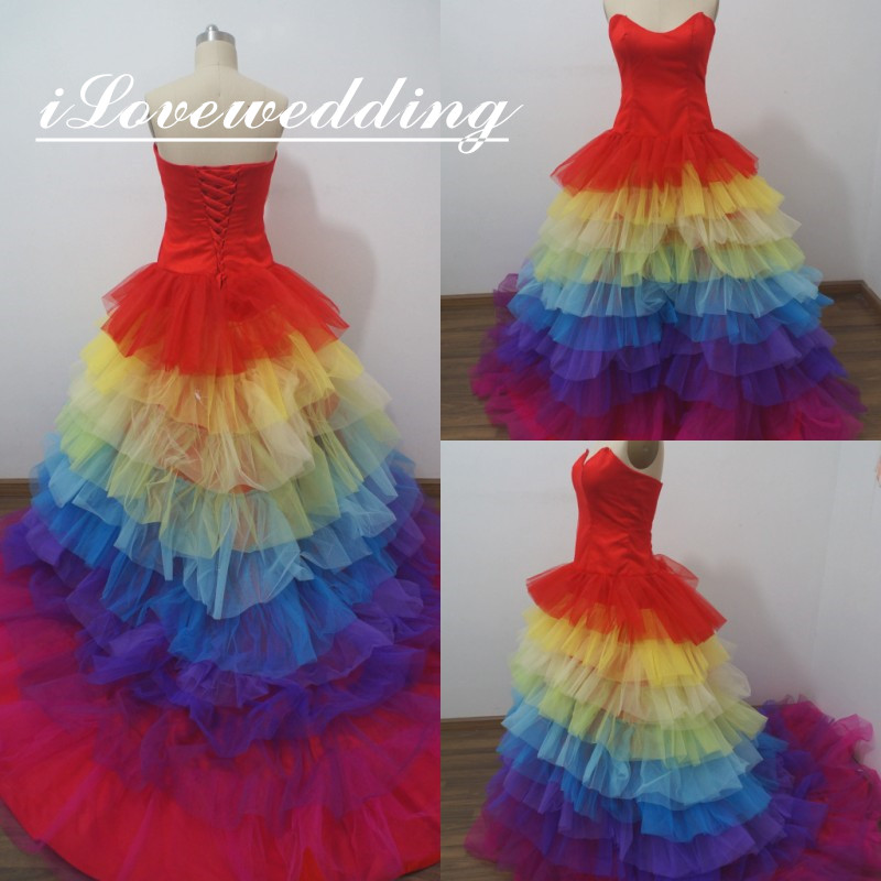 Rainbow Ruffle Wedding Dress