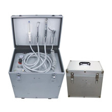 410W 65L/min Air Flow Portable Dental Unit with High & Low Speed Handpiece Tube, Three Way Syringe and Oiless Air Compressor