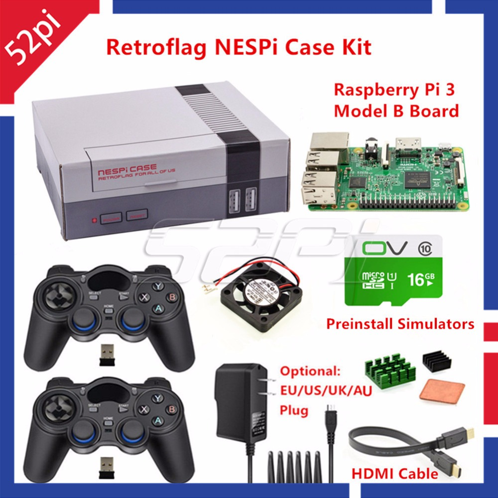 52Pi Retroflag NESPI Case With Raspberry Pi 3 16G Card Fan 2pcs Wrieless Gamepad Power Adapter