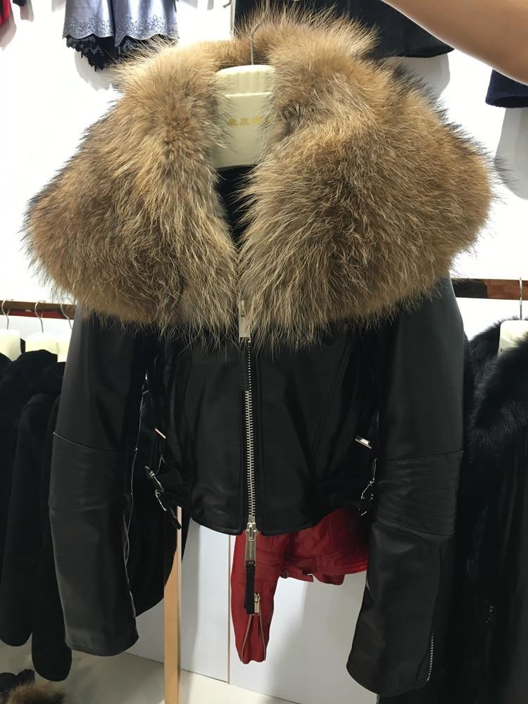 Femelle moutons veste en cuir de mode Femmes Véritable peau de Mouton manteau court avec fourrure de raton laveur collier noir rouge Survêtement dhl libèrent le bateau