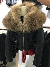 female sheep leather jacket fashion Women Genuine Sheepskin short coat with raccoon fur collar black red
