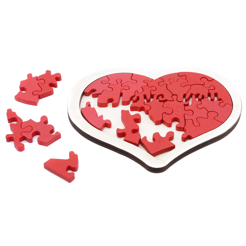 Baby Boys Heart-shaped Wooden Puzzle Animal Educational Developmental Baby Kid Training Toy Educational Toy Gift For Baby
