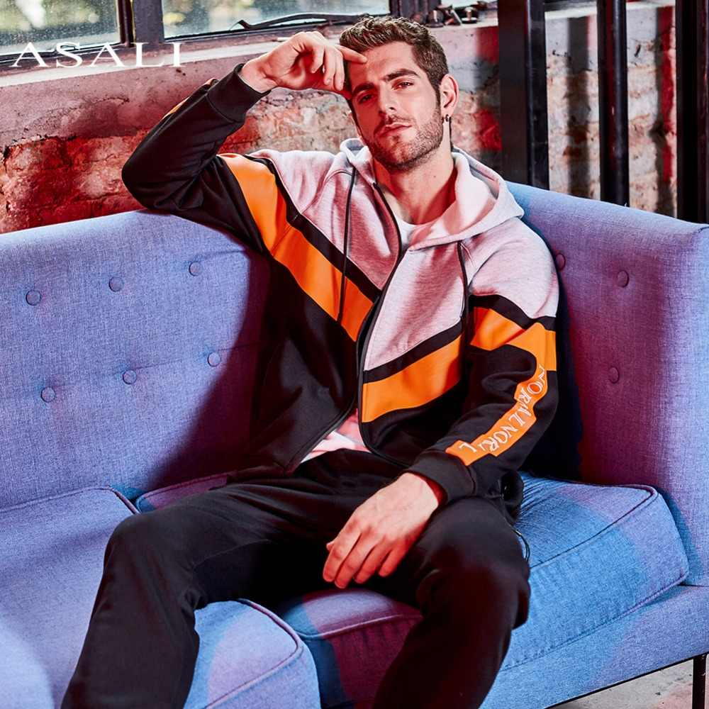 Conjunto de chándal de invierno para hombres ASALI 2019 conjunto de chaquetas de lana gruesa + pantalones traje Sudadera con capucha para otoño deportivo Moleton Masculino