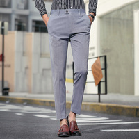 New Ankle Length Solid Casual Men's Suit Pants Lightweight Summer Trousers Male Korean Style Fashion Handsome Slim Fit Pants Men