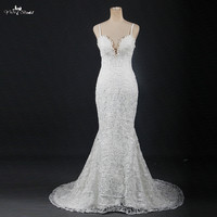 RSW1212 Real Photos Plunging Neckline Sexy Lace Mermaid Wedding Dresses