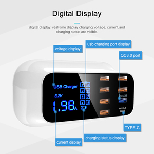 Image 3 - HKHUIBANG Quick Charge 3.0 USB Charger 8 Ports For Samsung Xiaomi Adapter Led Display PD 3.0 40W Phone Tablet Fast Charger