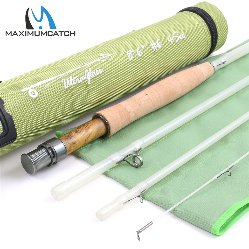 Maximumcatch Top Grade 8.6ft 6wt 4sections Transparent Fiberglass Fly Rod With Cordura Tube Fly Fishing Rod