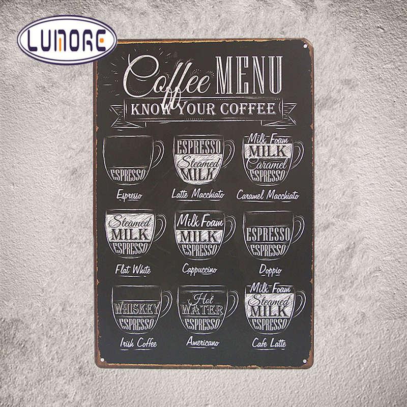Coffee menu vintage tin sign modern art prints cafe