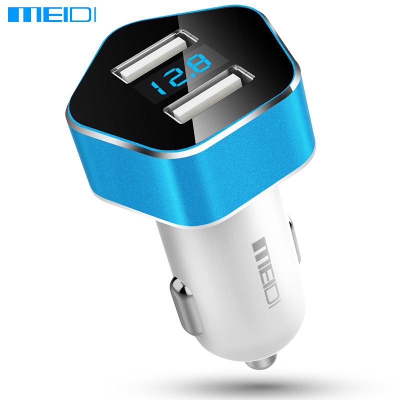 MEIDI Car Charger Dual USB Port Smart LED Voltage Display Car Cigarette Lighter Mobile Phone Universal USB Car Charger universal dual female usb output car charger white