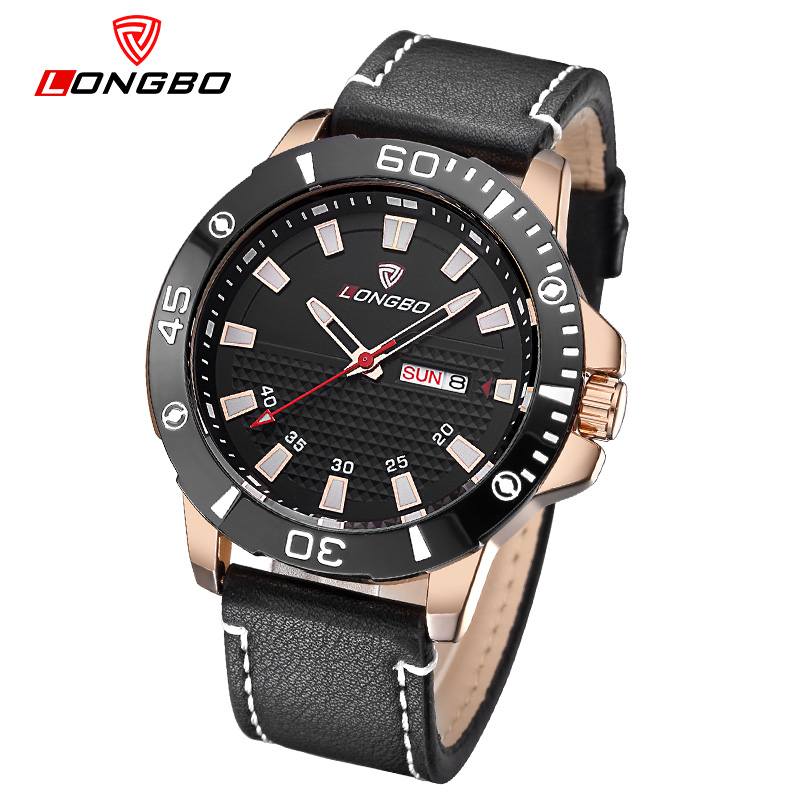 2016 Hot Seller LONGBO Brand Fashion Military Leather Quartz Watches Date Calendar Wristwatches Mens Watches 80190