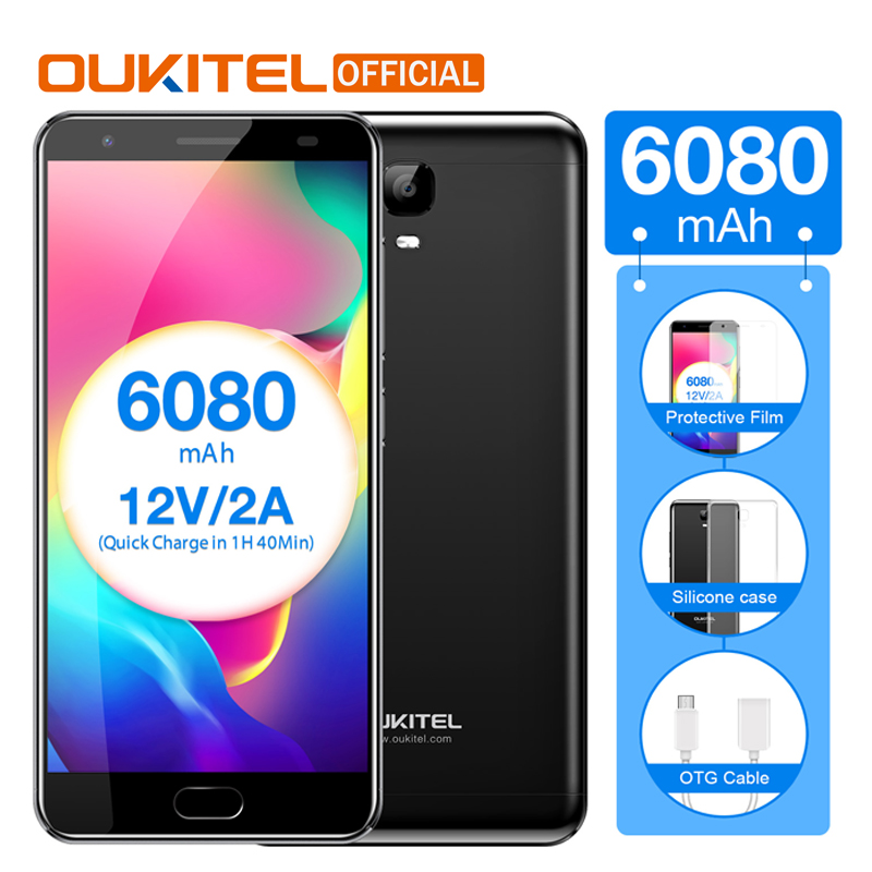 Oukitel K6000 Plus 4GB 64GB Cellphone Android 7.0 MTK6750T Octa Core 5.5″ FHD 6080mAh Fingerprint 12V/2A Quick Charge Smartphone