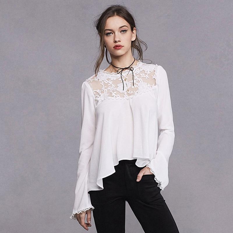 Dames Chemise Coréen Été Creux Tops Femmes 2017 Piste Streetwear Élégant Mignon Printemps Bureau Blouses Blanc Chemises Top Dentelle nv7OIq7