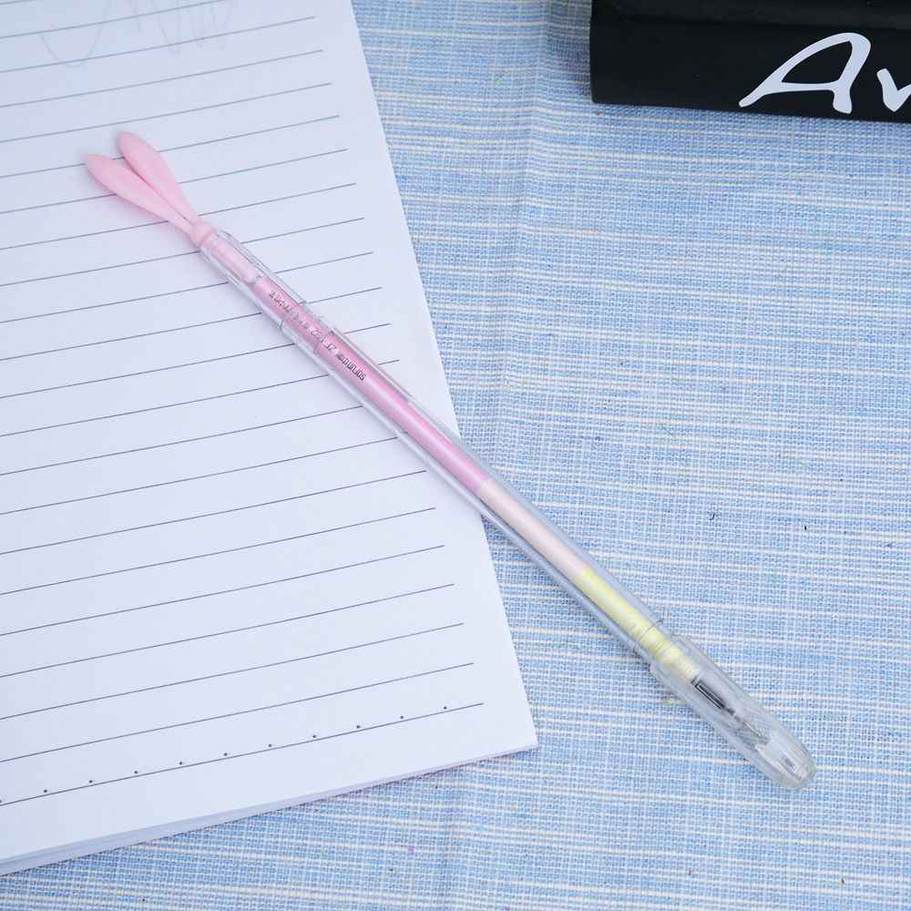 0.38mm Cute Cartoon Kawaii Plastic Gel Pen Creative Rabbit Ears Ballpoint Pen Kids Student Gift Novelty Item with Anti-Dust Plug