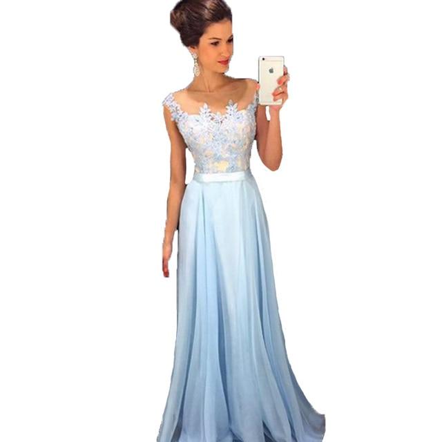Light Sky Blue Prom Dress 2017 Long Chiffon Lace Evening Gowns ...