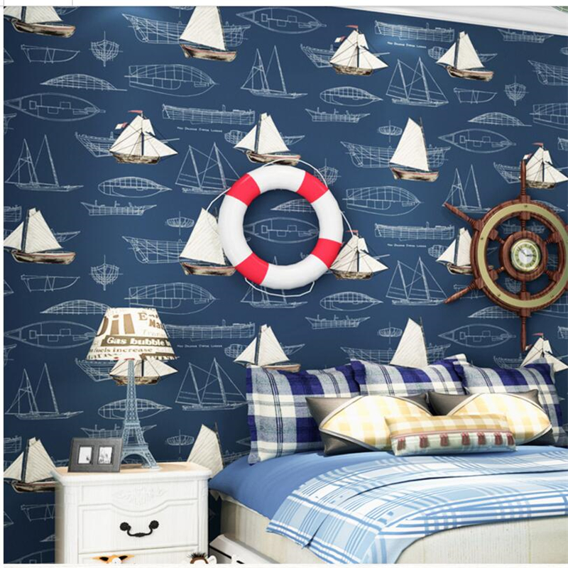 beibehang children room men and girl bedroom full of wallpaper non-woven mediterranean sailboat wallpape Papel de parede beibehang wall paper pune girl room cartoon children s room bedroom shop for environmental non woven wallpaper ocean mermaid