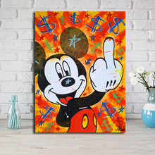 Monopolyingly Street Art Mickey Mouse Graffiti Dollar Oil Canvas Painting Wall Picture for Bedroom HD Print Home Decor
