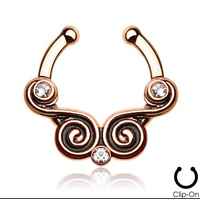2015 3 Pcs 316l Surgical Steel Zircon Clip On Fake Septum For Clicker Daith Cartilage Tribal