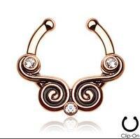 2015 3 Sztuk 316l Surgical Steel Cyrkon Klip Na Fałszywy Przegroda dla Clicker Daith Tribal Wentylator Dla Piercing Nose Ring Hoop Chrząstki