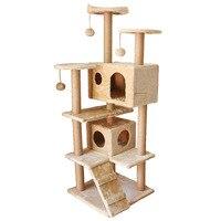 Добавить бархат кошка клетка Вилла роскошный большой кот игрушки с Когтеточка для котят кошка восхождение рамка кошка туннель