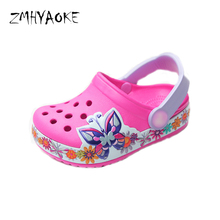 d2b4719d33060c ZMHYAOKE 2018 Croc Kids Slippers Aqua Water Shoes for Kids Butterfly Flower Breathable  Pool for Girls