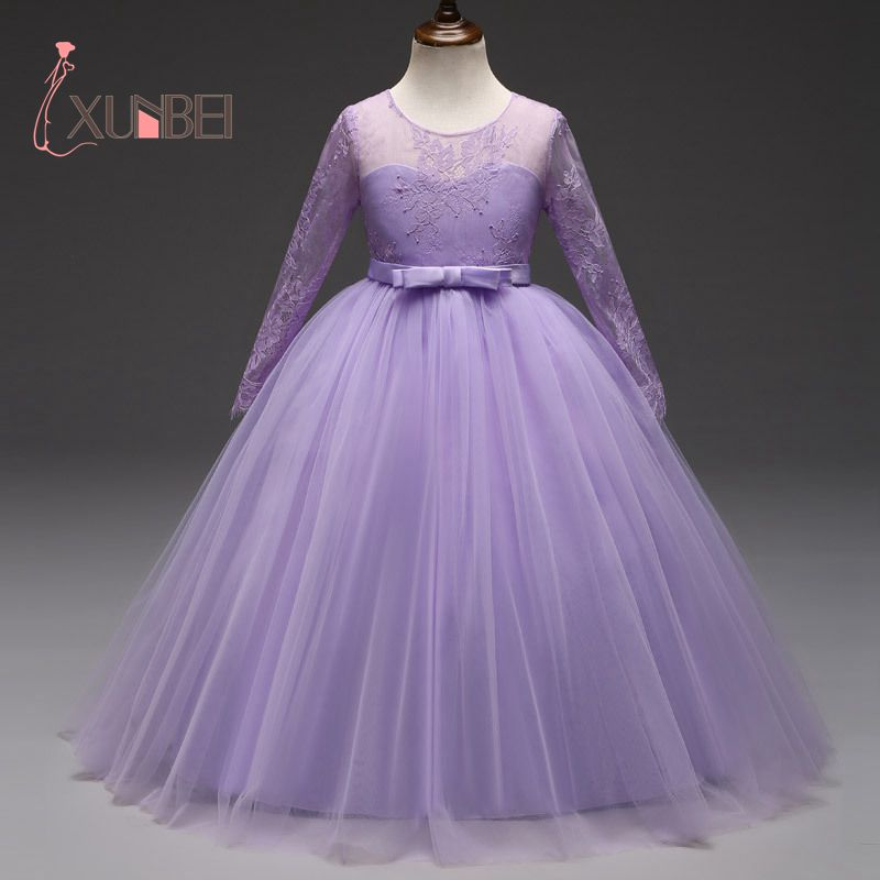 Floor Length Princess Long Sleeves Lace   Flower     Girl     Dresses   2018 Purple   Girls   Pageant   Dress   First Communion   Dresses   Party Gown