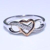 Обручальное кольцо Простой ручной работы Модные украшения из чистого 100% 925 пробы серебро золото отдельные CZ Обещание Кольца для Для женщин