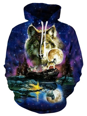 2019 Wolf Printed Hoodies Men 3d Hoodies Brand Sweatshirts Boy Jackets Pullover Fashion Tracksuits Animal Sweatshirts in Hoodies amp Sweatshirts from Men 39 s Clothing