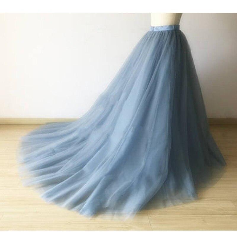 Bleu poussiéreux haut de gamme Long Tulle jupes pour femmes photopousses Zipper Style personnalisé Long Tulle jupe femme haute qualité 2018-in Jupes from Mode Femme et Accessoires    1
