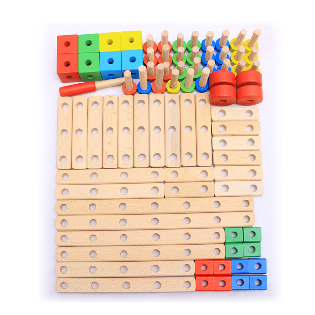 Chanycore Baby Learning Educational Wooden Toys Blocks Screws Nuts Assemblage Geometric Shape Kit Set ww Kids Gifts 4208 chanycore baby learning educational wooden toys blocks jenga domino 102pcs mwz geometric shape montessori kids gifts 4149