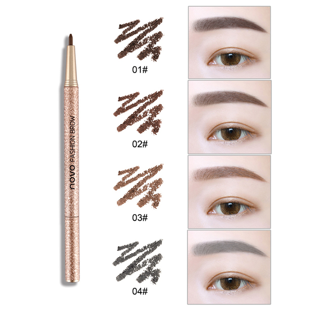 1 Set=3pcs NOVO 4 Colors New Eyebrow Pencil Makeup Set With 3pcs pencil+3pcs Eye Brows Template Waterproof Long Lasting Make Up 2