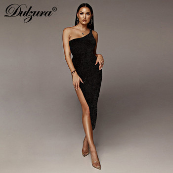Dulzura 2020 summer women long dress sexy one shoulder slit backless party dress glitter sparkle bling club elegant vestidos 2