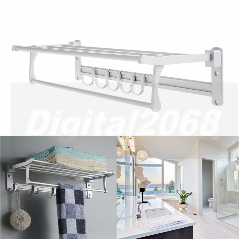 New Silver Rectangle Aluminum Wall-Mounted Bathroom Towel holders Towel Racks With Row Robe Hooks Free Shipping 60*20*13CM free shipping single layer towel racks with hooks plastic towel holder wall powerful suction cup bathroom towel shelf