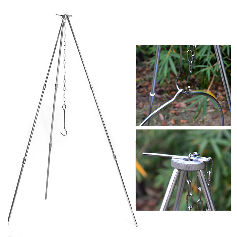 Outdoor Campfire Tripod Camping Portable Folding Barbecue Aluminum Alloy 3 Section Pot Bracket Campfire Tripod