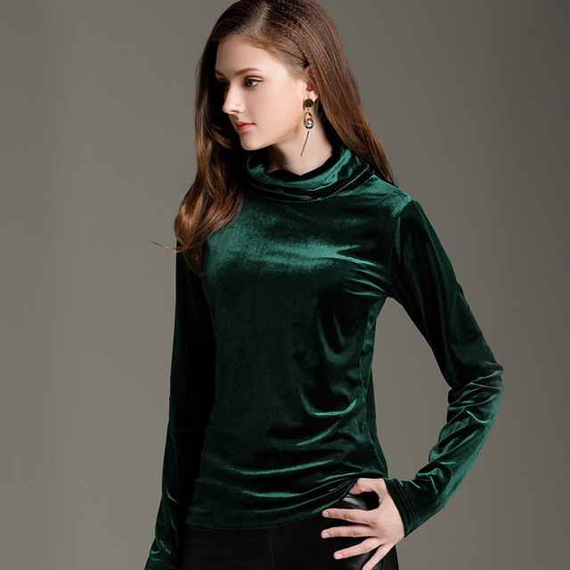9c337d0b75b2a 2018 New Casual Winter Plus Size Women Clothing Black Green Red Long Sleeve  T-shirt Velour Turtleneck Warm Velvet Female Tops