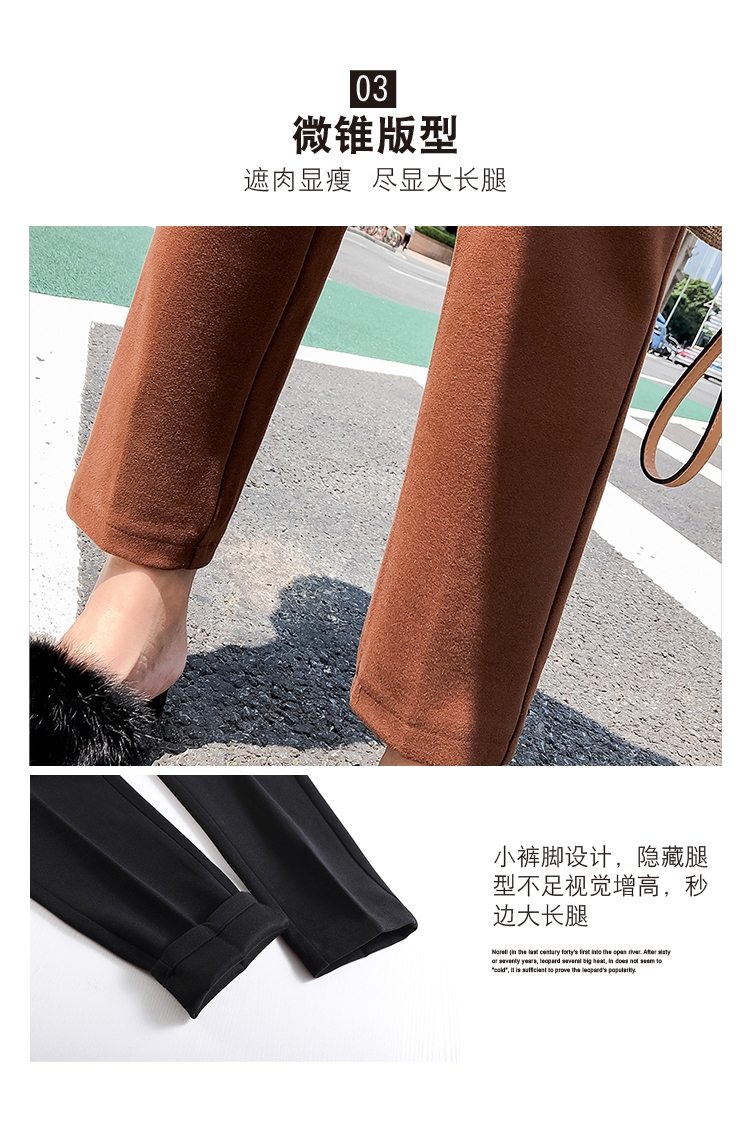 19 Autumn New Women Elastic Woolen Pant Female Plus Size Casual Trousers Black/Gray Harem Pants Winter Wool Ankle-Length Pants 16