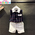 Keelorn Boys Clothing Sets 2017 Brand Girls Boys Clothing Sets Summer Style Plaid Shirt +White Pants 2 pcs for Boys Clothes