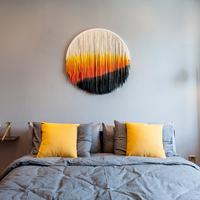 High Quality Woven Macrame Wall Hanging Boho Chic Bohemian Home Geometric Art Decor Beautiful Apartment Dorm Room Decoration